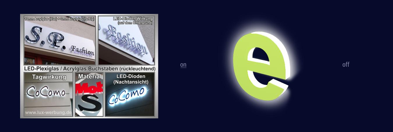 Beleuchtung Für Aussenwerbung | Leuchtbuchstabe Seitlich Und Indirekt Beleuchtet Schattenschrift